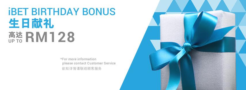 scr888 iBET Birthday Bonus RM 38, RM 88 & RM 128
