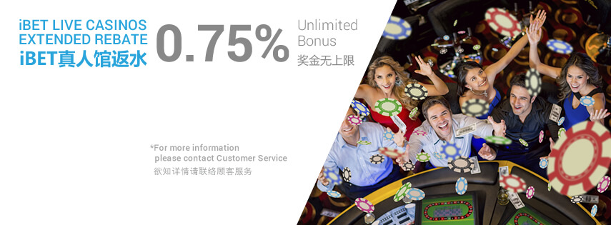 scr888 iBET Live Casinos Extended Rebate 0.75% Unlimited Bonus