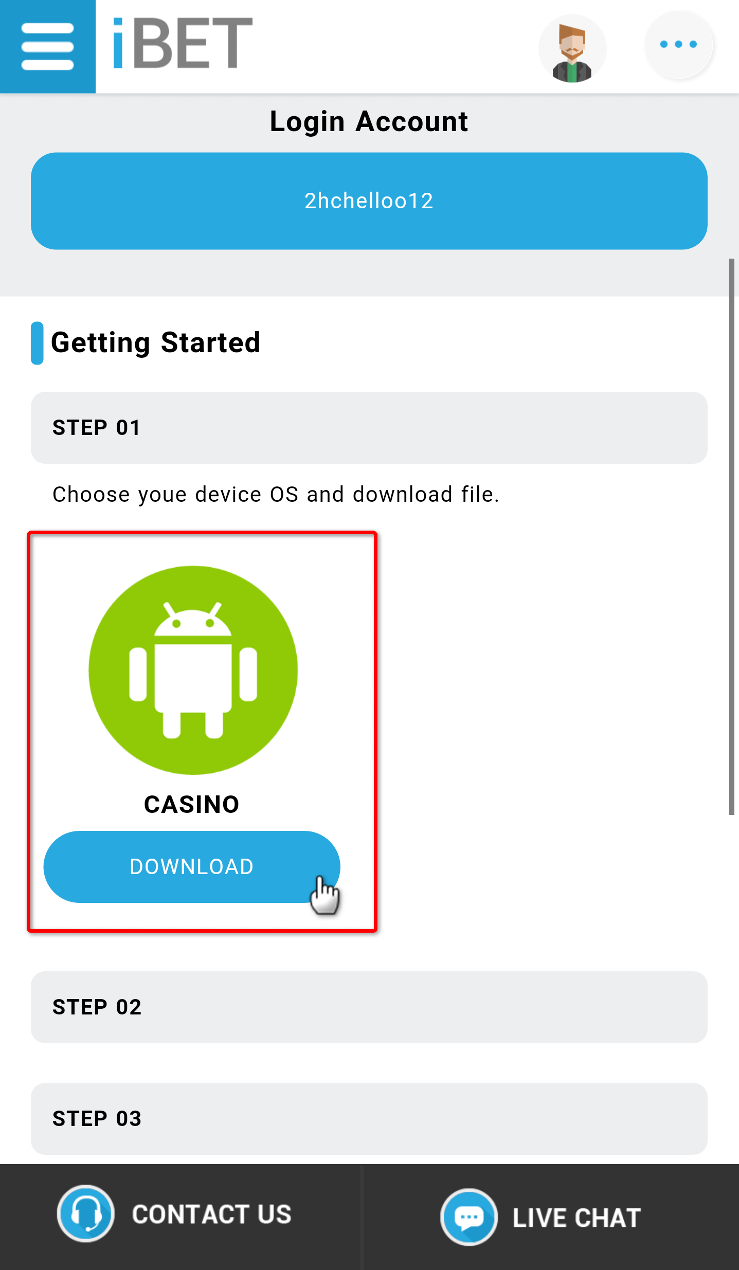 "Step3: Click the ""DOWNLOAD"" icon to download the game."