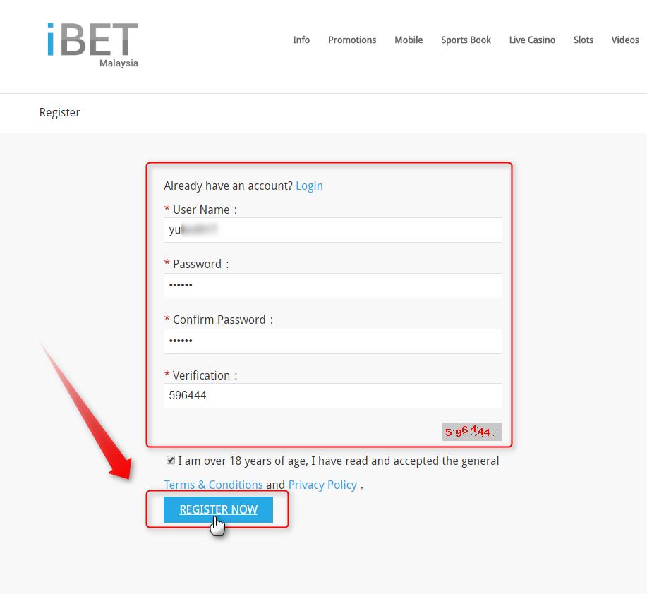 On register page, fill in your User Name、Password and Confirm Password,then fill in your full name, and fill in the verification code to complete the step, then just click ''Register Now'' at the bottom.