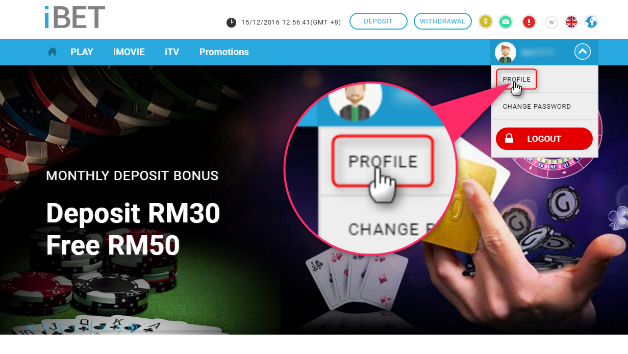 2.After register success, you would be led back to iBET home page, and in login status, now just click ''PROFILE'' on the top right profile avatar and you can enter your profile page where you're closer to the free verification bonus!