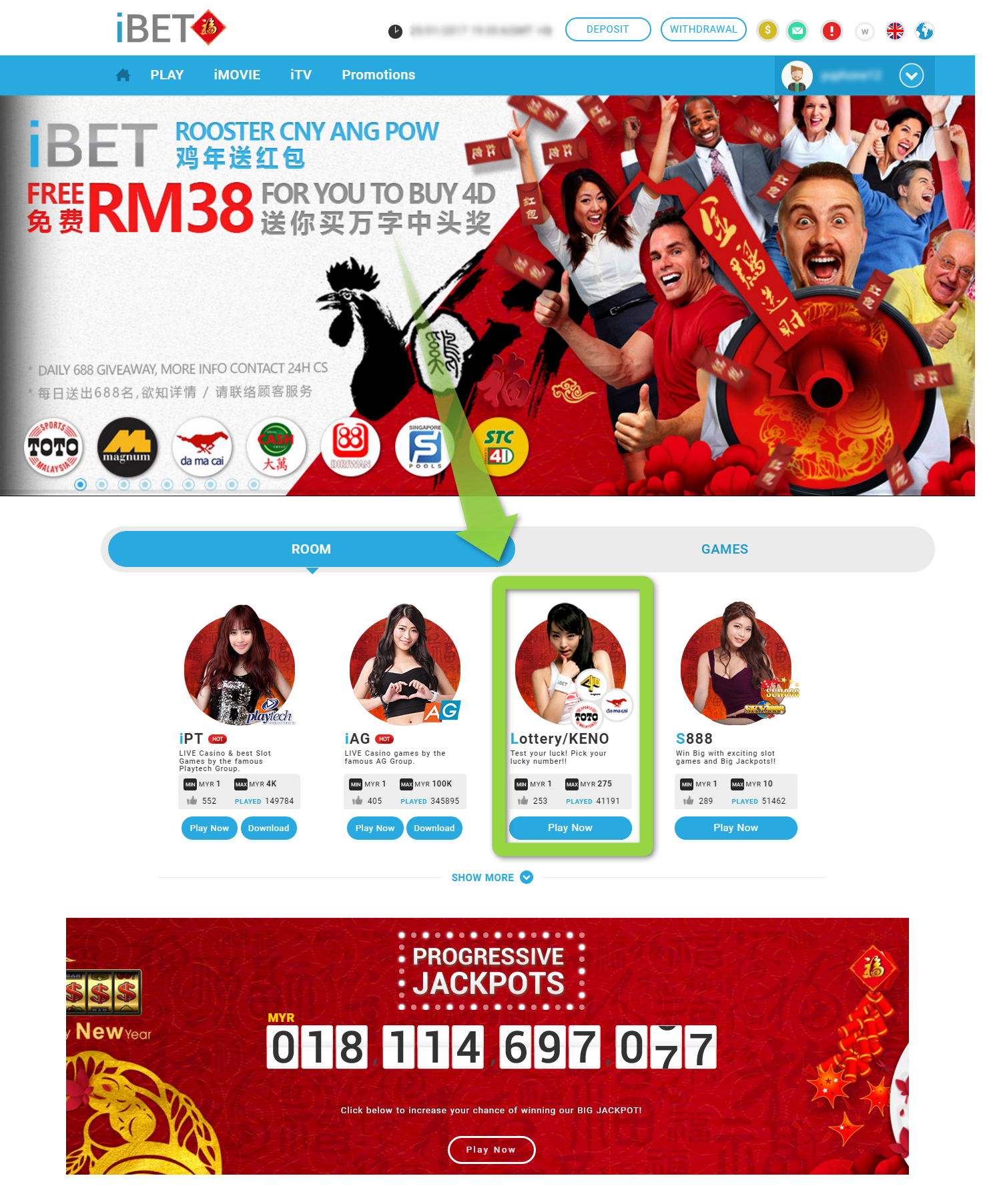 Logined to your Free RM38 activity account, select iLottery Game room, you may begin bets on 4D to win Big Prizes